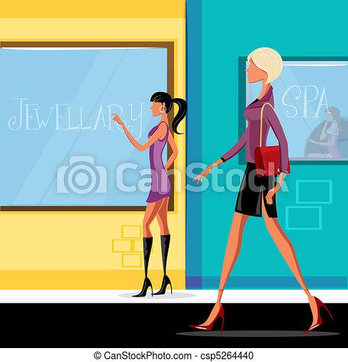 fashion lady walking down the path - csp5264440
