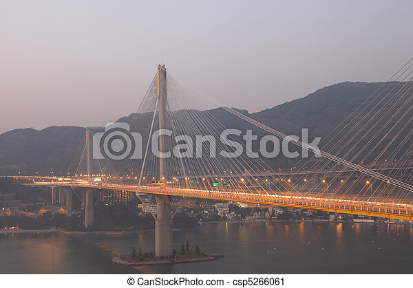 Ting Kau Bridge at dusk, Hong Kong - csp5266061