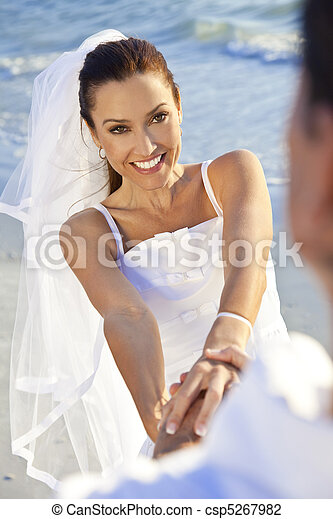 Bride & Groom Married Couple at Beach Wedding - csp5267982