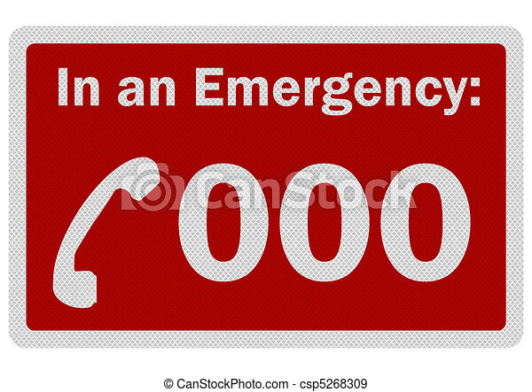 Photo realistic 'Emergency 000' sign, isolated on white - csp5268309
