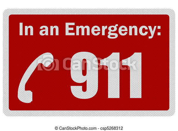 Photo realistic 'Emergency 911' sign, isolated on white - csp5268312
