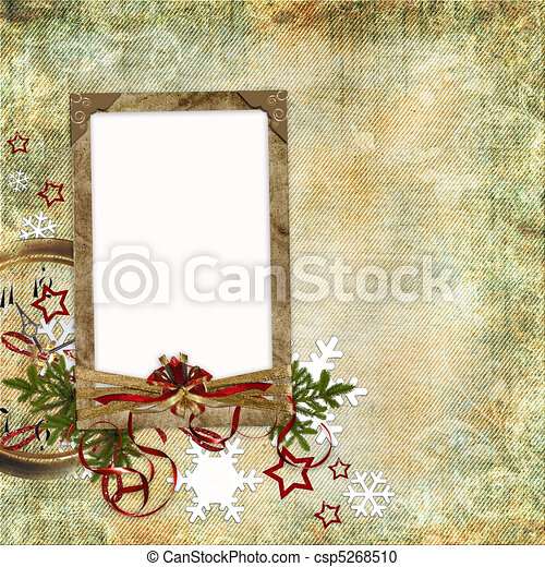 Christmas card in ancient style for a photo, congratulations and greetings - csp5268510