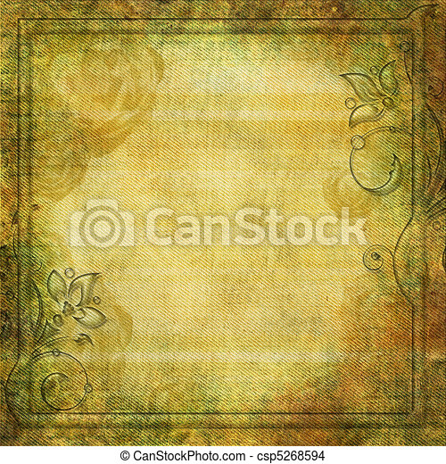 Grunge yellow - green background with swirl border - csp5268594