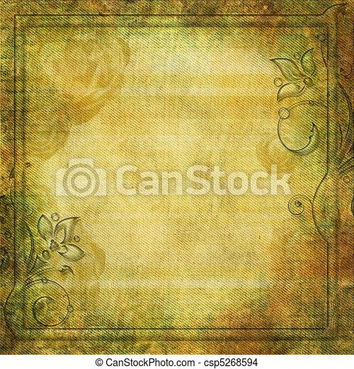 Grunge yellow - green background with swirl border - csp5268594