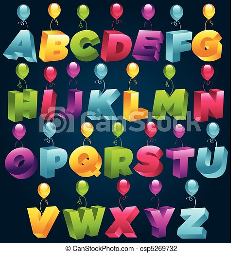 3D Party Alphabet - csp5269732