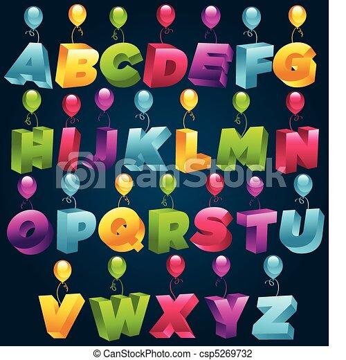 3D Party Alphabet - csp5269732