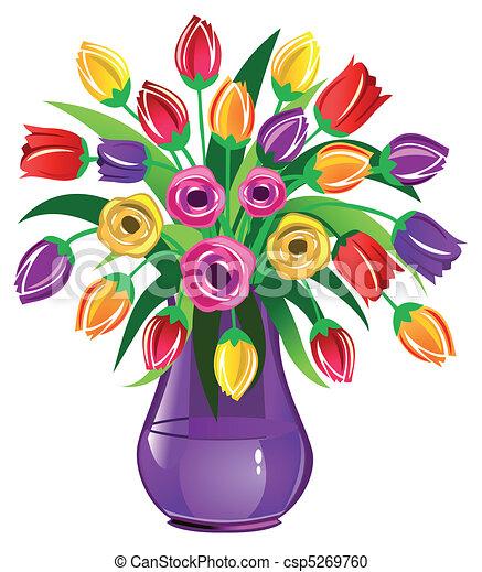 Spring Flowers Vase Clipart