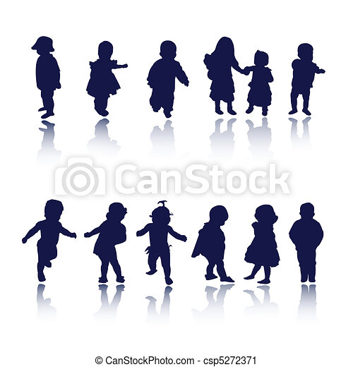 kids, children, baby silhouettes - csp5272371
