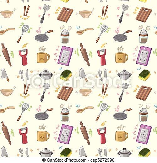 seamless Kitchen pattern  - csp5272390
