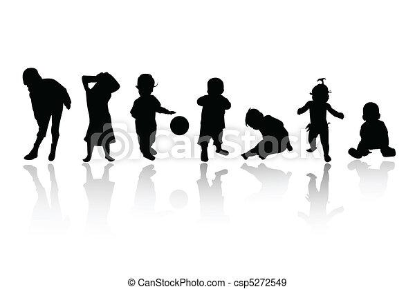 Vecteurs eps de silhouettes enfants csp5272549 - Schattenbilder kinder ...