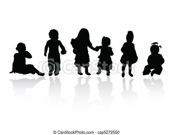 silhouettes - children - csp5272550