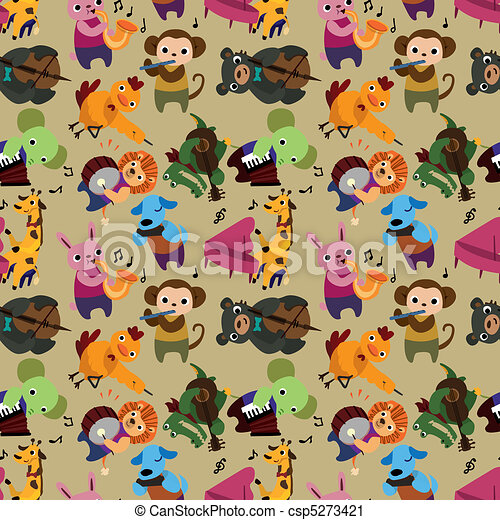 seamless animal music pattern - csp5273421