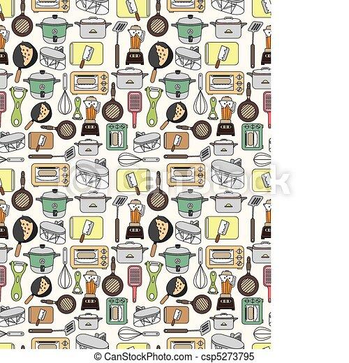 seamless Kitchen pattern  - csp5273795