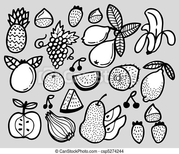 Vecteur eps de dessiner fruit main main dessiner - Dessiner un fruit ...