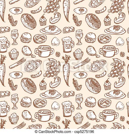 seamless food pattern  - csp5275196
