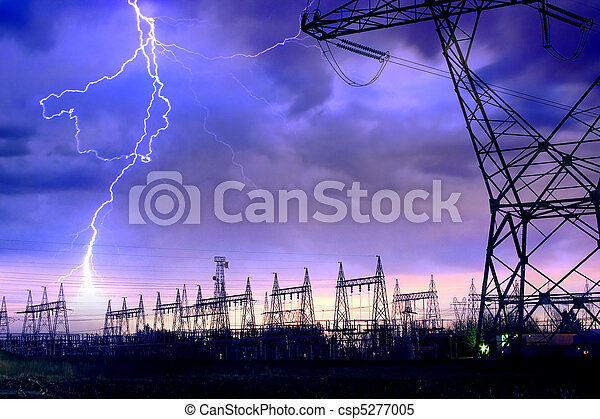 Power Distribution Station with Lightning Strike.   - csp5277005