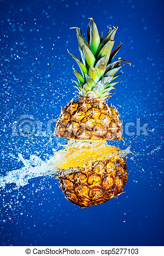 Pineapple splashed with water - csp5277103