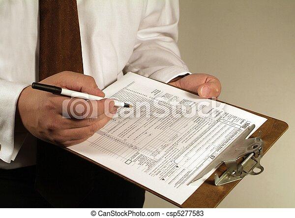 Tax Financial Paperwork Forms - csp5277583