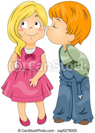 男孩, 亲吻, 女孩 - csp5278005