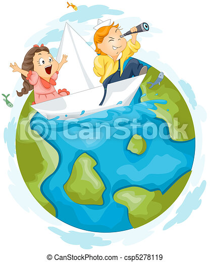 Stock Illustration of Paper Boat - Illustration of Kids Taking a Trip ...