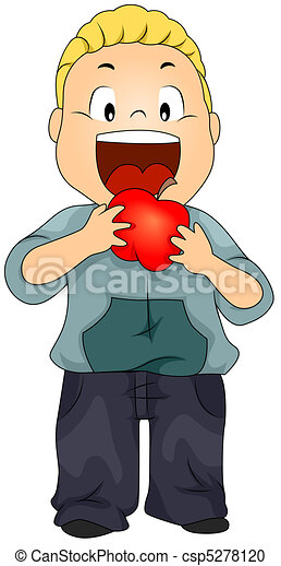 Stock Illustration of Kid Eating Apple - Illustration of a ...