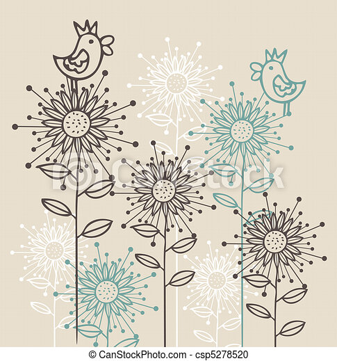 background with birds and flowers  - csp5278520