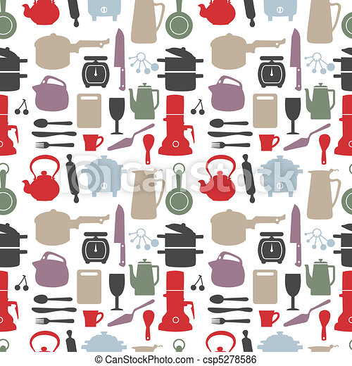 seamless kitchen pattern, vector ill - csp5278586