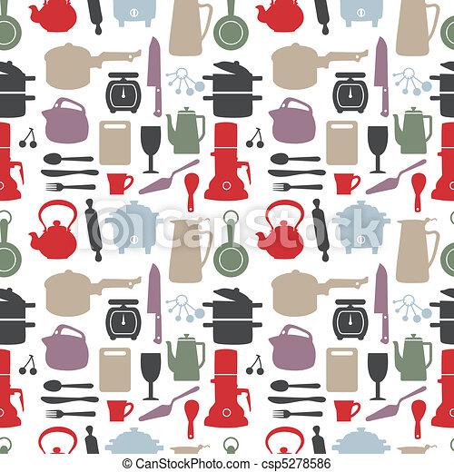 seamless kitchen pattern,vector ill - csp5278586