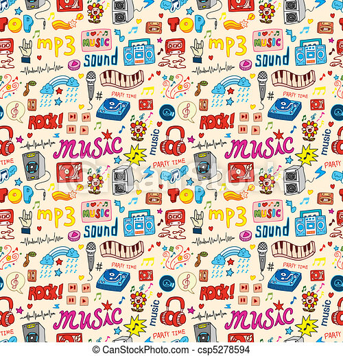 cute music icon seamless pattern - stock illustration, royalty free ...: www.canstockphoto.com/cute-music-icon-seamless-pattern-5278594.html