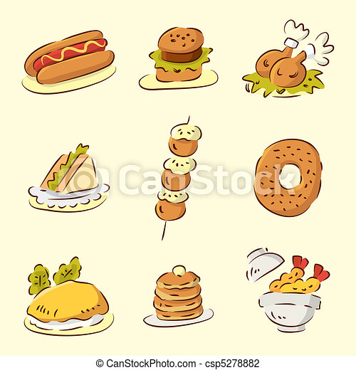 Vector Illustration of cute cartoon food - cute cartoon food ...