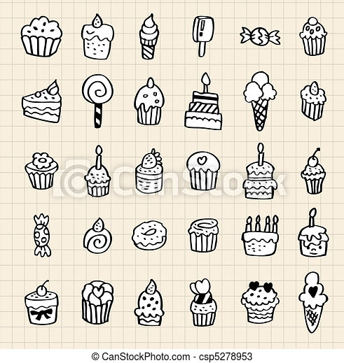 hand draw cake element - csp5278953