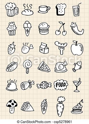 doodle food drink, hand draw - csp5278961