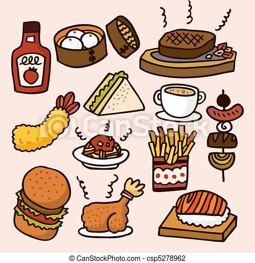 Funny Cute Food Cartoons Vector Cute Cartoon Food