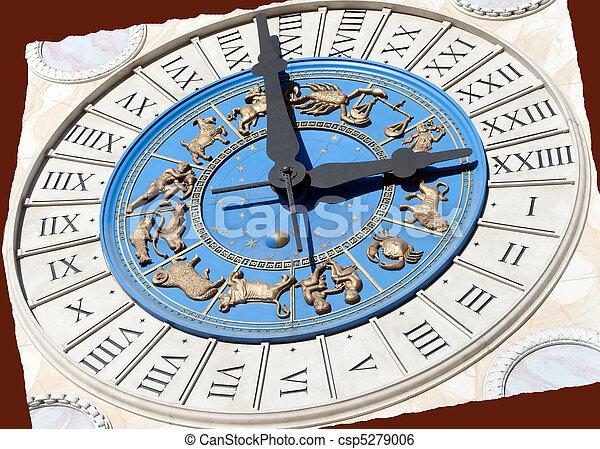 Roman Zodiac Clock - csp5279006