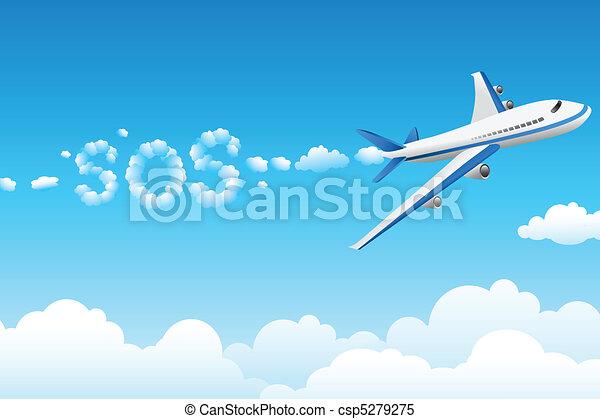 aeroplane with cloudy sos - csp5279275