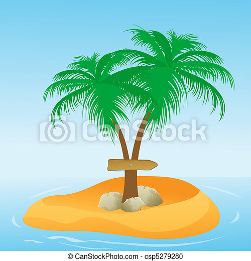 coconut tree with direction board - csp5279280