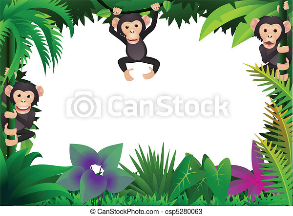Cute chimp in the jungle - csp5280063