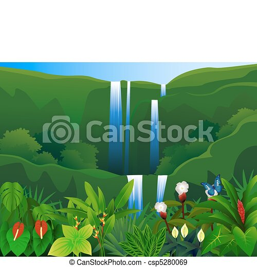Forest Waterfall Drawing Tropical Forest Waterfall in