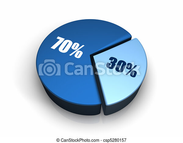 Blue Pie Chart 30 - 70... - Royalty Free Clip Art - csp5280157