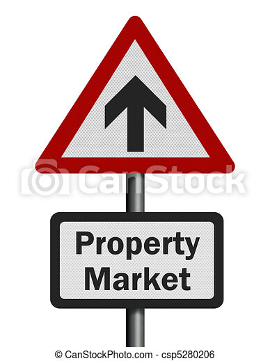 Photo realistic reflective metallic 'property market growth' sign, isolated on a pure white background. - csp5280206