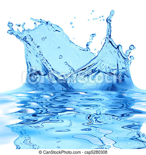 Sparks of blue water on a white background ... - csp5280308