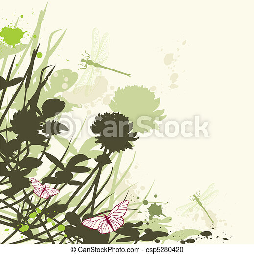 floral background with clover - csp5280420