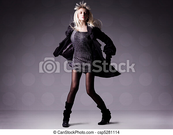 hermoso, foto, niña, moda - csp5281114