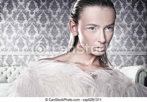 Studio shot of a gorgeous blonde  - csp5281311