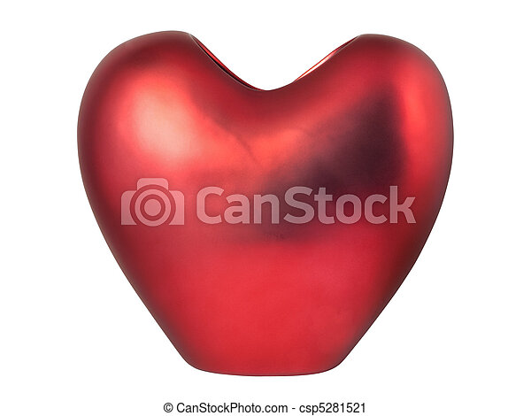 Red heart-shaped vase - csp5281521