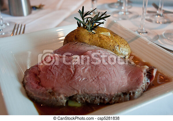 Prime Rib and Baked Potato with Rosemary - csp5281838