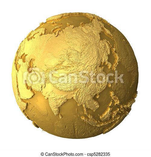 Gold Globe - Asia - csp5282335
