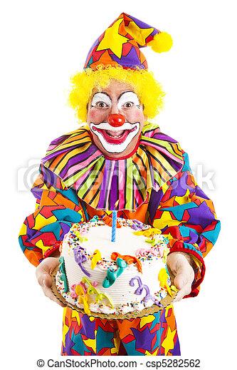 Birthday Clown With Cake - csp5282562