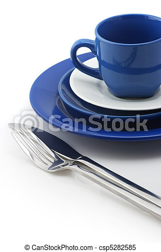 Blue and white dishware - csp5282585