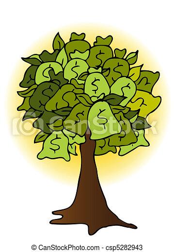 Vecteurs de arbre argent, dessin, sac - An, image, de, a ...